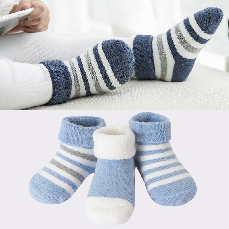 3 Pairs/Lot 0-3 Years Baby Cotton Socks Winter Thicken Warm Boy Newborn Socks Spring Infant Girl Breathable Striped Sox