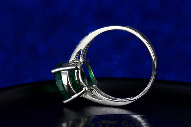 Yanhui 925 スターリングシルバージャスパー女性のグリーン天然エメラルド石ウェディングバンドジュエリーリングギフト卸売 R472