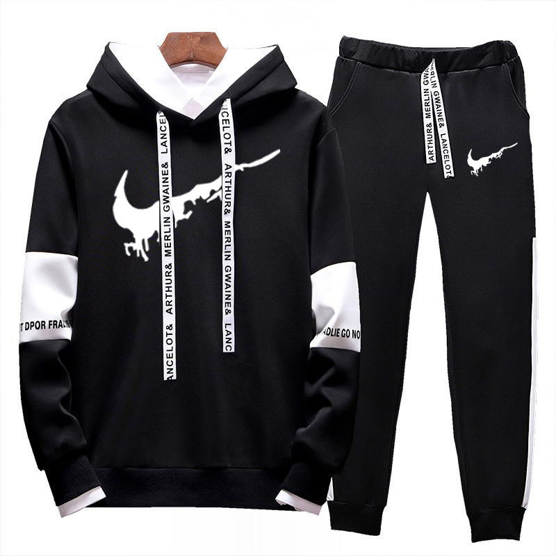 2020 Spring New Men's Loose Hooded Pullover Hoodies Sweatshirt Casual Suits Tracksuits Survetement Homme Complet De Marque