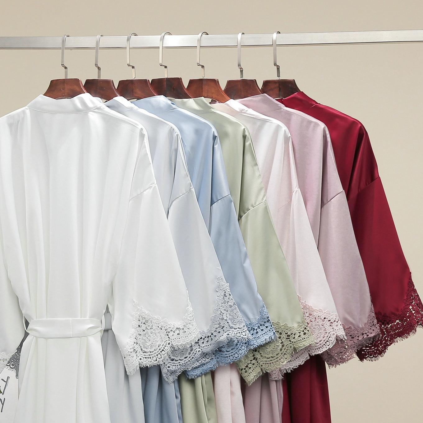 2020 New Women Matt Satin Lace Robe Bridal Wedding Bride Robe Bridesmaid Robe Satin Robes Bathrobe Sleepwear