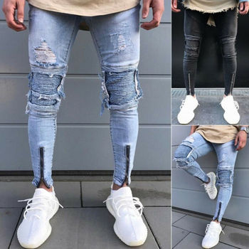 Men's Skinny Slim Fit Straight Ripped Destroyed Distressed Zipper Stretch Knee Patch Denim Pants Jeans Men's Slim Fit Jeans skinny jeans for men distressed stretch jeans ice blue ripped skinny jeans slim fit dropshipping supply white tape design