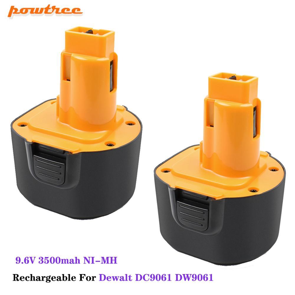 Powtree Rechargeable 9.6V 3500mah NI-MH DC9061 DW9061 Battery For Dewalt DC9061 DW9061 DE9036 DE9061 DE9062 Power Tools Batterie