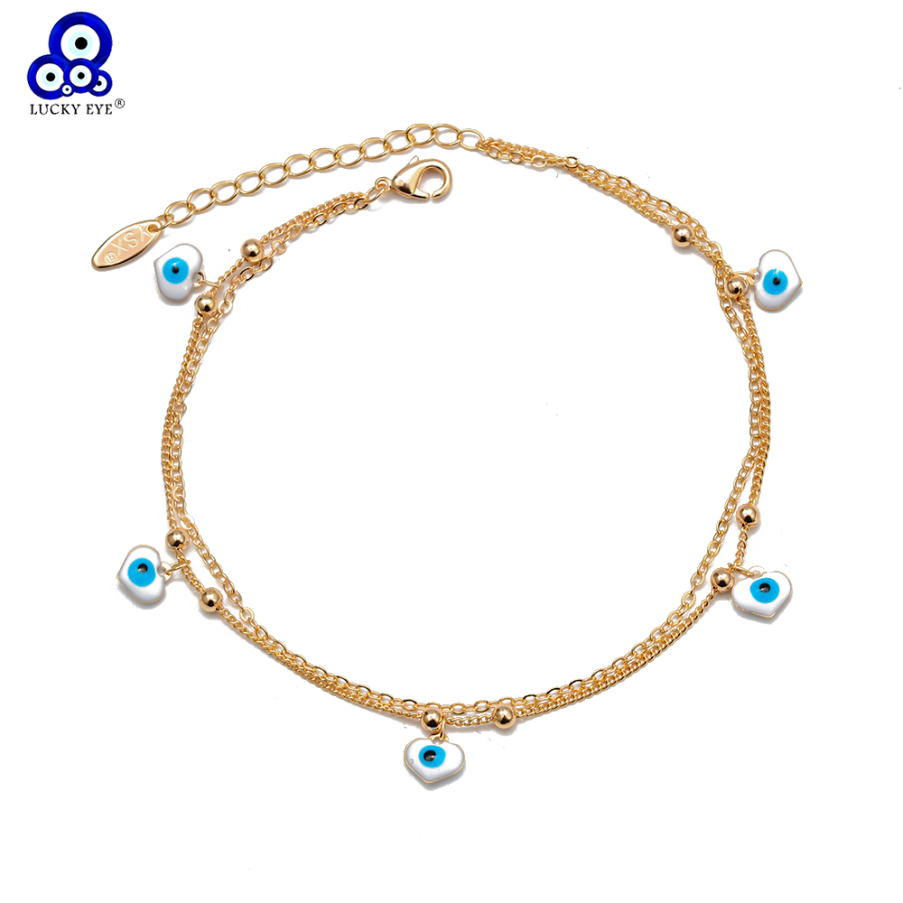 Lucky Eye Water Drop Star Heart Charm Anklet Multi Layer Gold Color Foot Chain Evil Eye Ankle Bracelet for Women Jewelry BD78