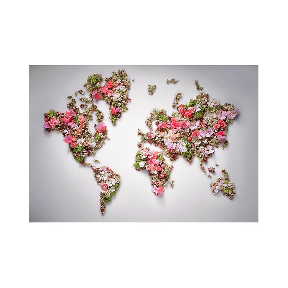 150x100cm Non-woven DIY World Map Plate Pattern Made With Beautiful Flower For Wall Decor