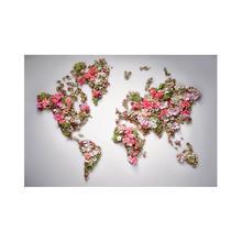 Assiette cartographique du monde Non tissée bricolage 150x100cm, faite avec belle fleur pour décoration murale