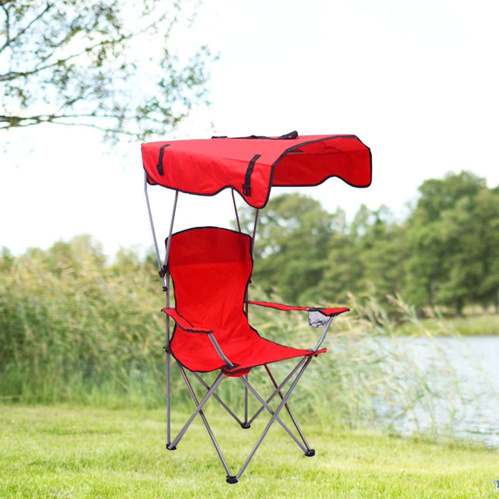 Outdoor Folding Canopy Fishing Chair Reclining Camping Chairs With Footrest Lightweight Portable Relex Comfortable Seat Chair