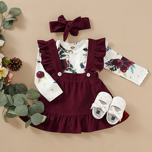 Toddler Baby Girls Long Sleeve Floral Romper Bodysuit+Suspender Outfits Fashion Long Sleeve O-neck ropa niña Winter 2019(China)