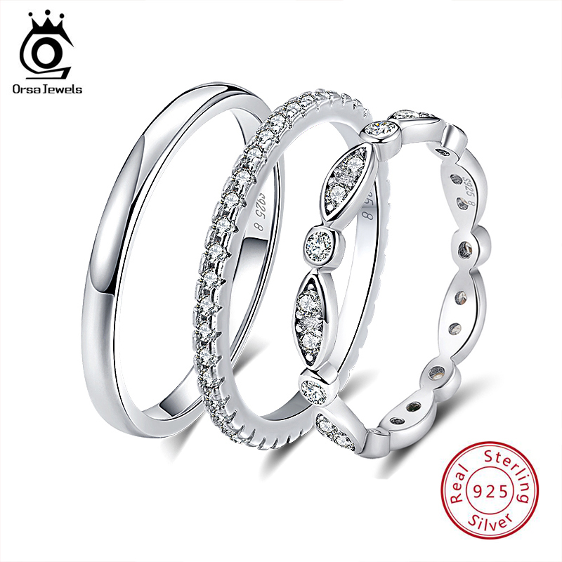 Top SaleORSA JEWELS 925 Silver Finger Rings for Women Stackable Match Wedding Band Statement Sterling Silver 925 Jewelry for Girls SR60