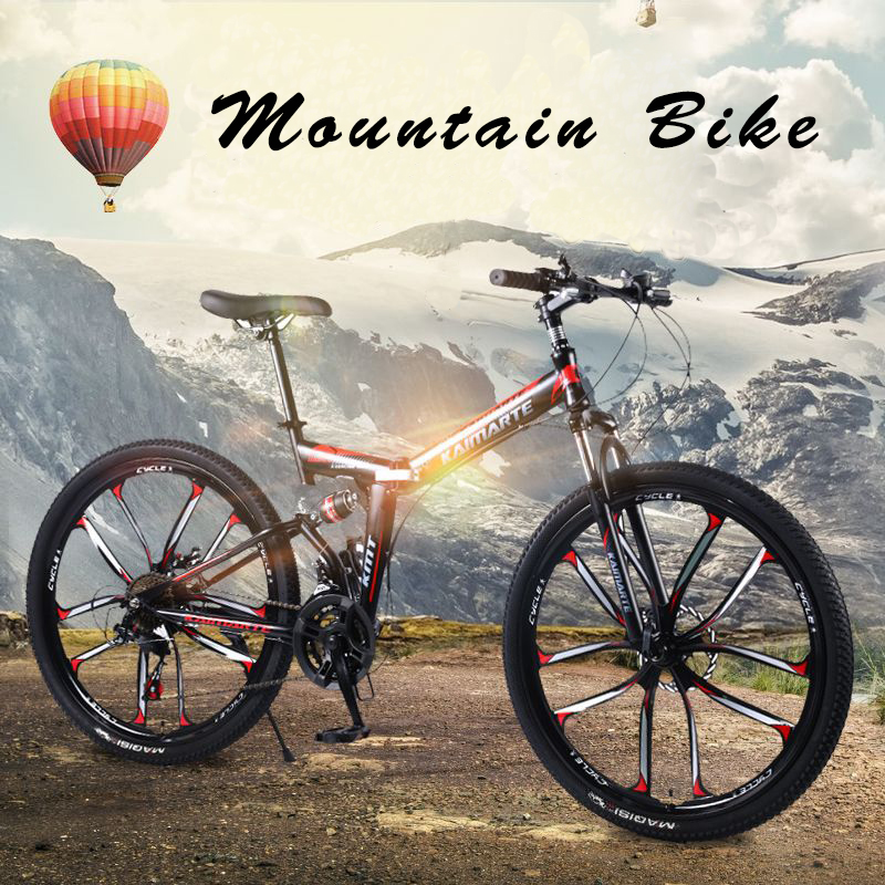 26-inch foldable mountain <font><b>bike</b></font> 21/24/27 speed front and rear shock absorber mountain <font><b>bike</b></font> cross country bicycle student bmx image