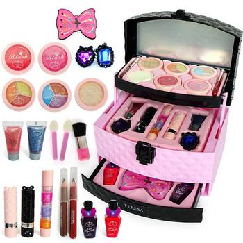 Girls Makeup Kit Cosmetics Play Set Pretend Play Makeup Toy Play Princess Pink Makeup Beauty Safety Non-toxic Kit Toy For Kids