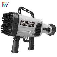 Pistola de burbujas Gatling para niños, juguete eléctrico de agua y jabón al aire libre, 44 agujeros de carga, máquina de burbujas automática, juguetes para niños 2021