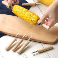Creative wooden stainless steel barbecue fork holder fork party food kebab hot dog kitchen tools outdoor barbecue accessories