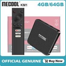 Mecool km1 amlogic s905x3 android caixa de tv vídeo principal 4k 4gb 64gb android 10.0 prefixo wifi widevine l1 google play console de voz