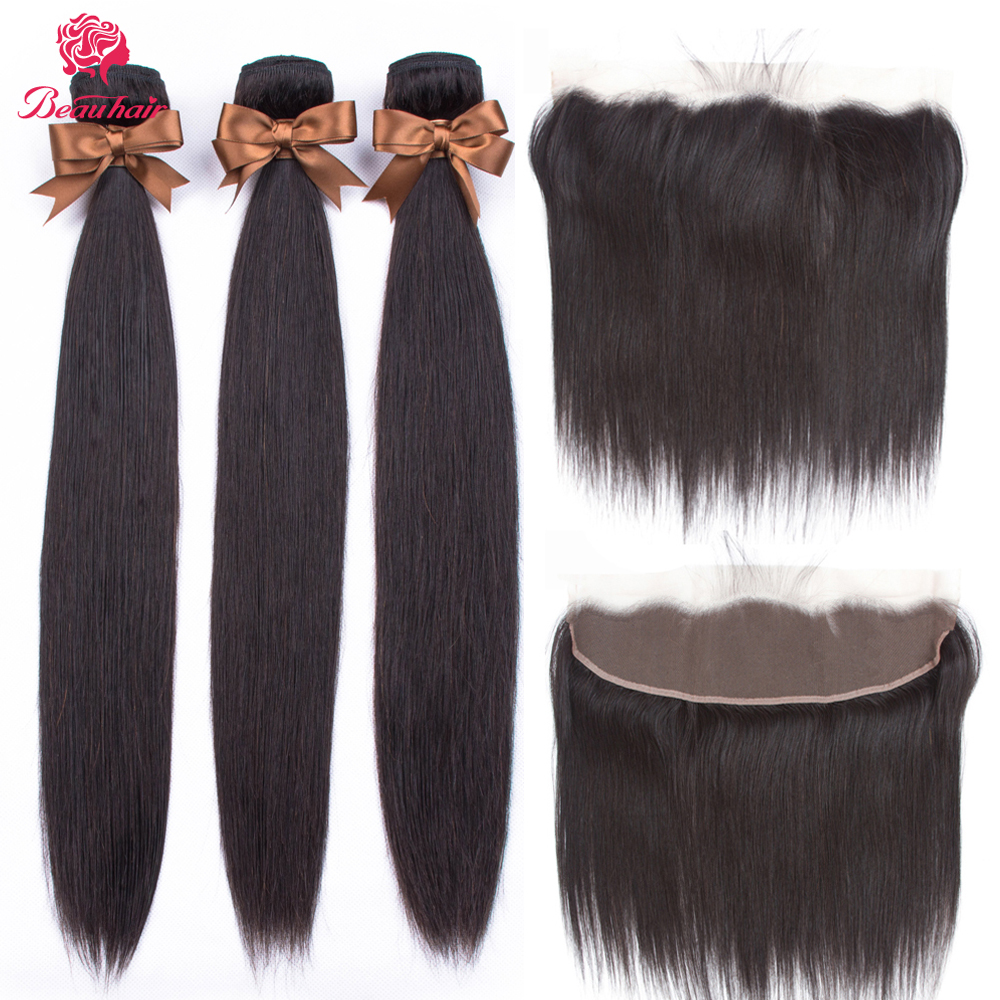 Transparent Lace Frontal Closure With Bundles Non-Remy Brazilian Straight Human Hair 3 Bundles With Frontal Closure Pre Plucked