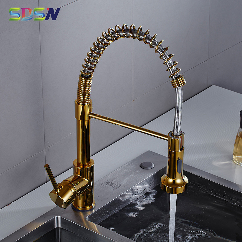 Pull Out Kitchen Faucet SDSN Quality Brass Gold Kitchen Faucet Single Spring Kitchen Mixer Tap Pull Down Kitchen Sink Faucets