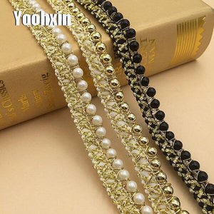 Fashion 3D pearl gold embroidery lace fabric applique ribbon trim collar sewing DIY guipure craft wedding NEW year 2021 decor