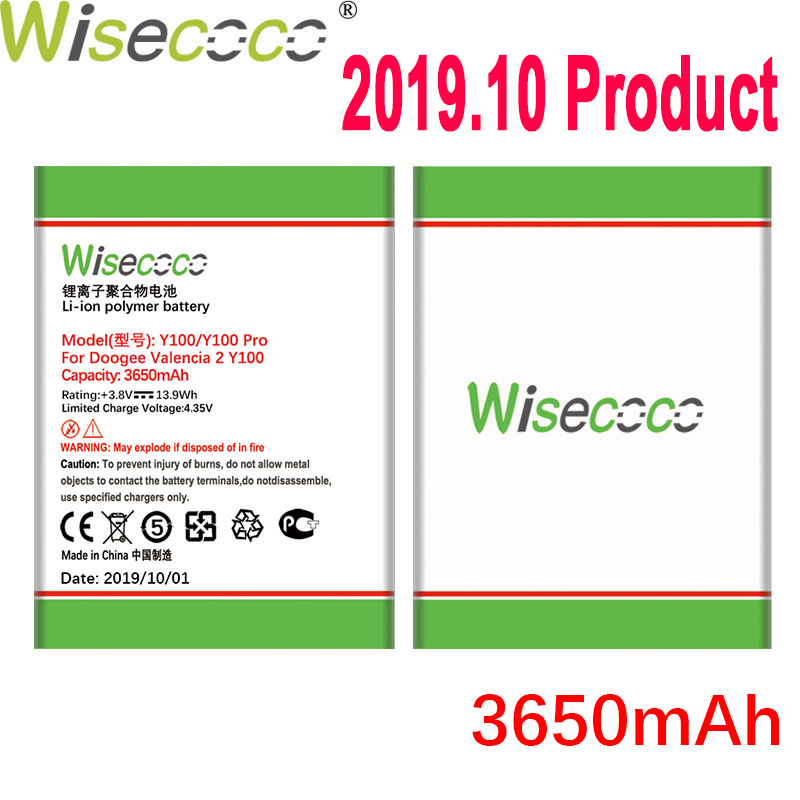 WISECOCO 3650mAh Battery For <font><b>DOOGEE</b></font> <font><b>Valencia</b></font> <font><b>2</b></font> <font><b>Y100</b></font> <font><b>Y100</b></font> <font><b>Pro</b></font> Mobile Phone Latest Production High Quality Battery+Tracking Number image