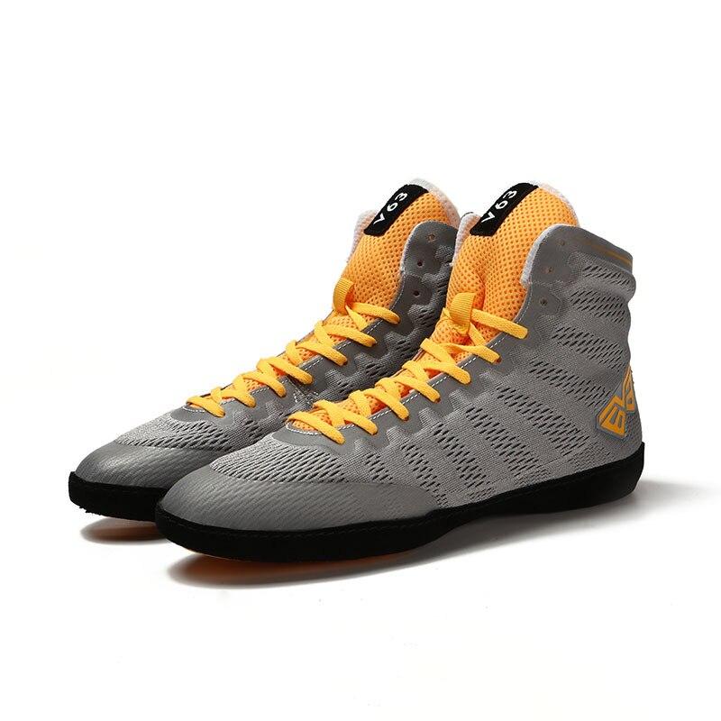 Мужская борцовская обувь, износостойкая Спортивная боксерская обувь, дышащие бои с высоким берцем, мягкие мужские тренировочные кроссовки D0877 - Цвет: Серый