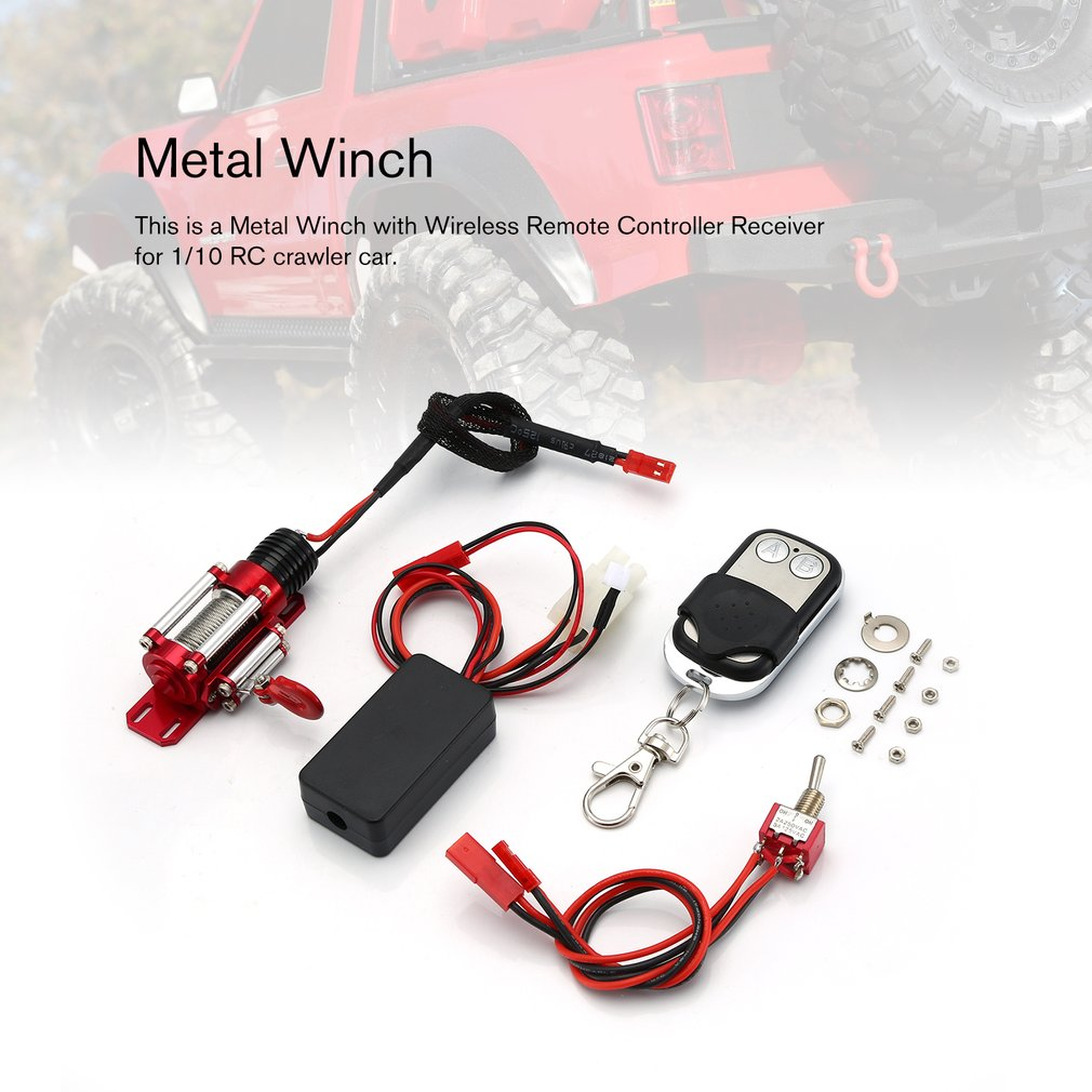 RC Car Metal Winch with Wireless Remote Controller Receiver for 1:10 RC4WD Axial SCX10 D90 Traxxas HSP Redcat RC Crawler Car