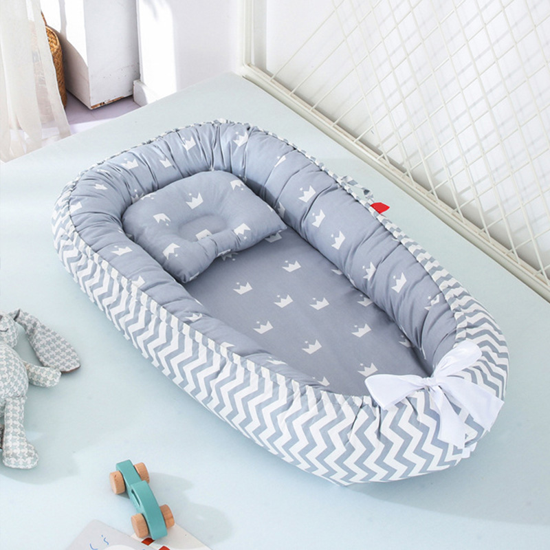 Soft Cotton Baby Bed With Pillow Portable Baby Nest Crib Travel Bed Infant Cradle Washable Bebe Bed Bassinet Bumper 85*50 Cm
