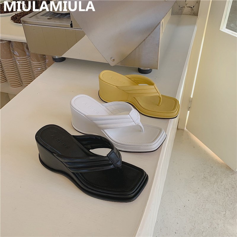 MIULAMIULA Brand Designers 2020 Summer Fashion Luxury Good Leather Wedges Platform High Heels Lady Pumps Mules Flip Flops Beach
