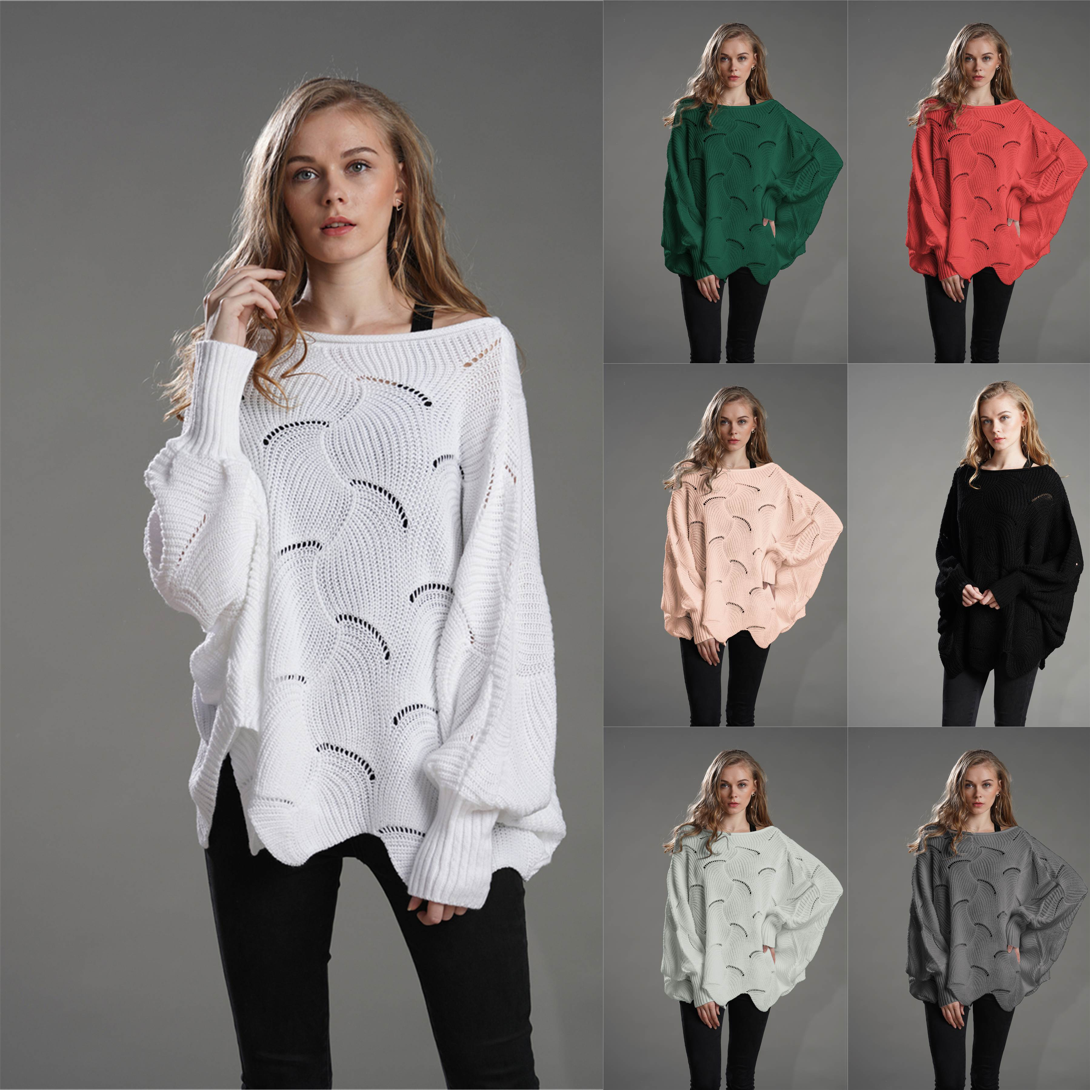Sweater Ms. 2019 autumn and winter new loose solid color pullover OL commuter sweater round neck