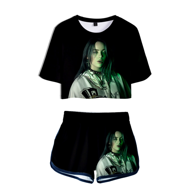 SET 3D BILLIE EILISH SHORT + T-SHIRT (12 VARIAN)