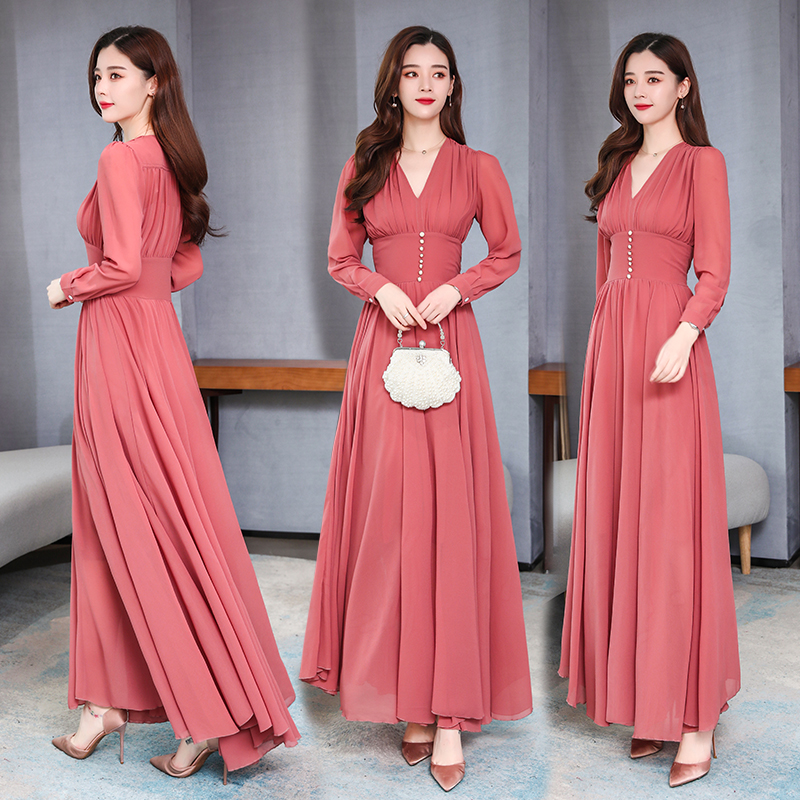 Long Sleeve Dress Autumn New French High Waist Slim Temperament Chiffon Long Dresses Women Clothes V-neck Solid Color