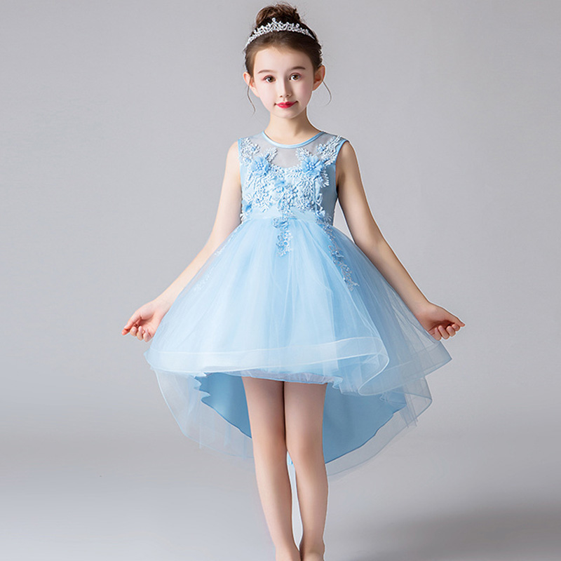 Flower Girl Bridesmaid Girl Wedding Party Birthday Pearl Dresses With Tails To Attend The First Dress Vestidos De Fiest