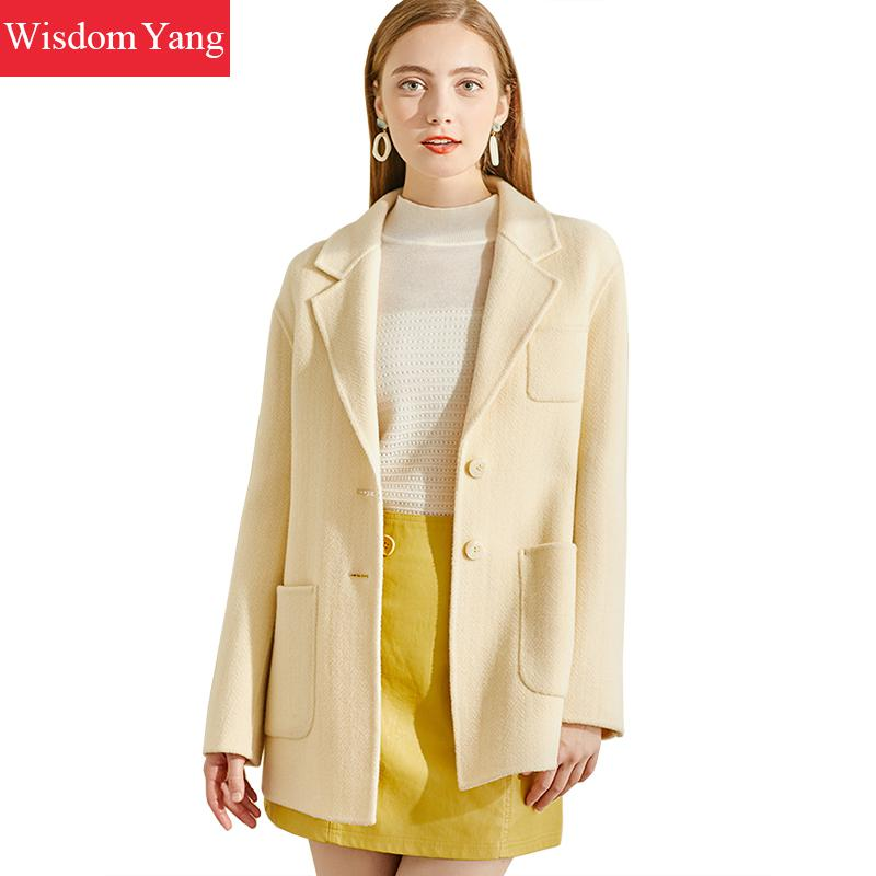 Winter Coats Women Yellow Warm Wool Suits Jackets Elegant Formal Wrap Woolen Autumn Overcoat Slim Woollen Outerwear Korean Coat