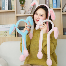 2019 Fashion Cartoon Hats Moving Ears Cute Rabbit Toy Hat Airbag Funny for Girls Cap Kids Plush Christmas Gift