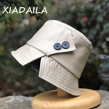 Basin-Cap Korean-Hat Spring Autumn Winter Women's And Button Japanese