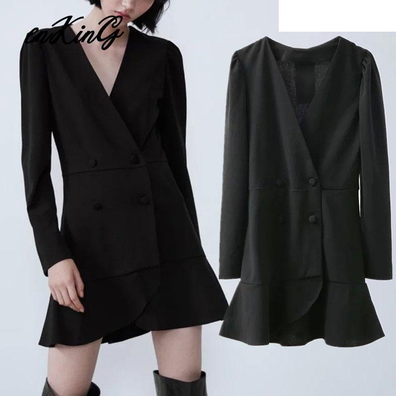 2019 England Style Office Lady Elegant Double Breasted Party Mini Za Dress Women Vestidos De Fiesta De Noche Vestidos Blazer