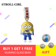 Strollgirl Cute Minions Charms with colorful enamel&Zirconia Authentic 925 Sterling Silver Beads Fit DIY Original Bracelet New