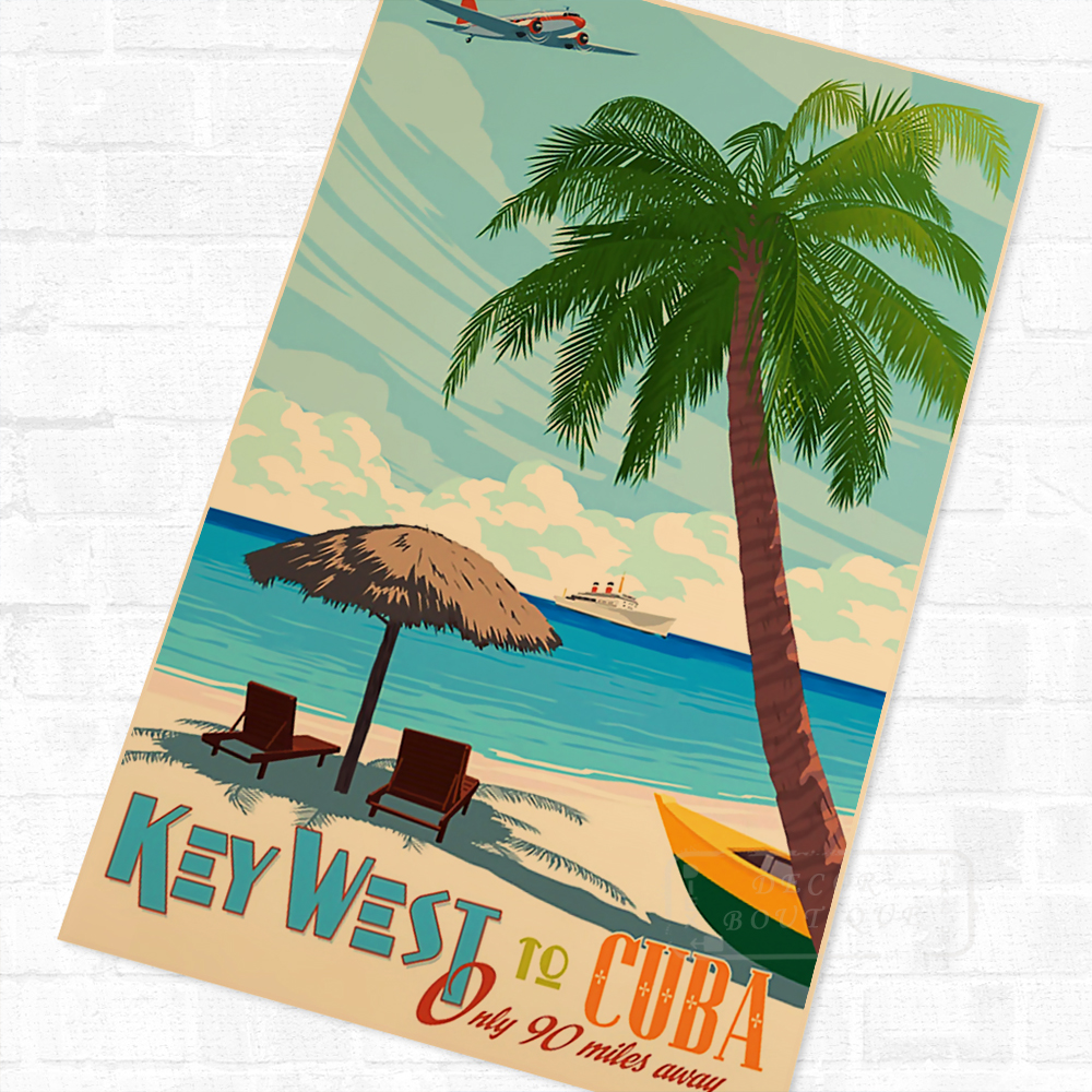 Pop Art Key West Cuba Beach Sea Vintage Retro Travel Kraft Poster Decorative DIY Wall Canvas Sticker Home Bar Poster Decoration image