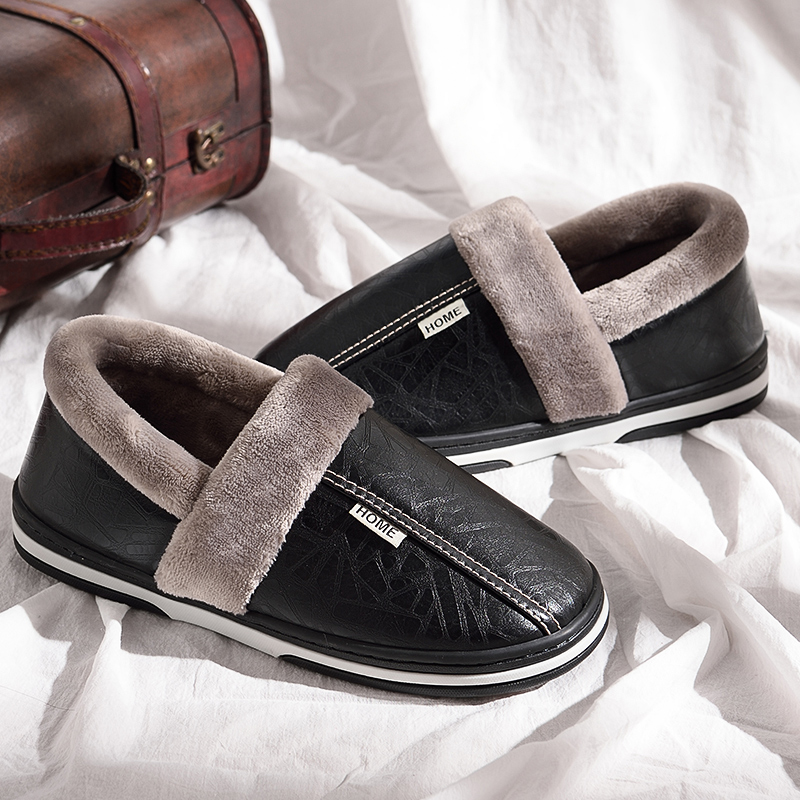 Winter House Slippers Men Leather Plush Male Shoes Waterproof Plus Size 11.5-15 Anti Dirty Warm Slippers Package Non-slip