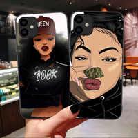 Funda de arte negra Afro para iPhone 12 Pro Max SE 2020, carcasa de melanina Poppin para iPhone 11 Pro Max XR X XS 7 8 Plus