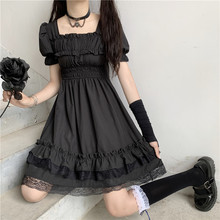 Japanese Harajuku Dark Style Summer New Dresses Vintage Square Collar Lace Puff