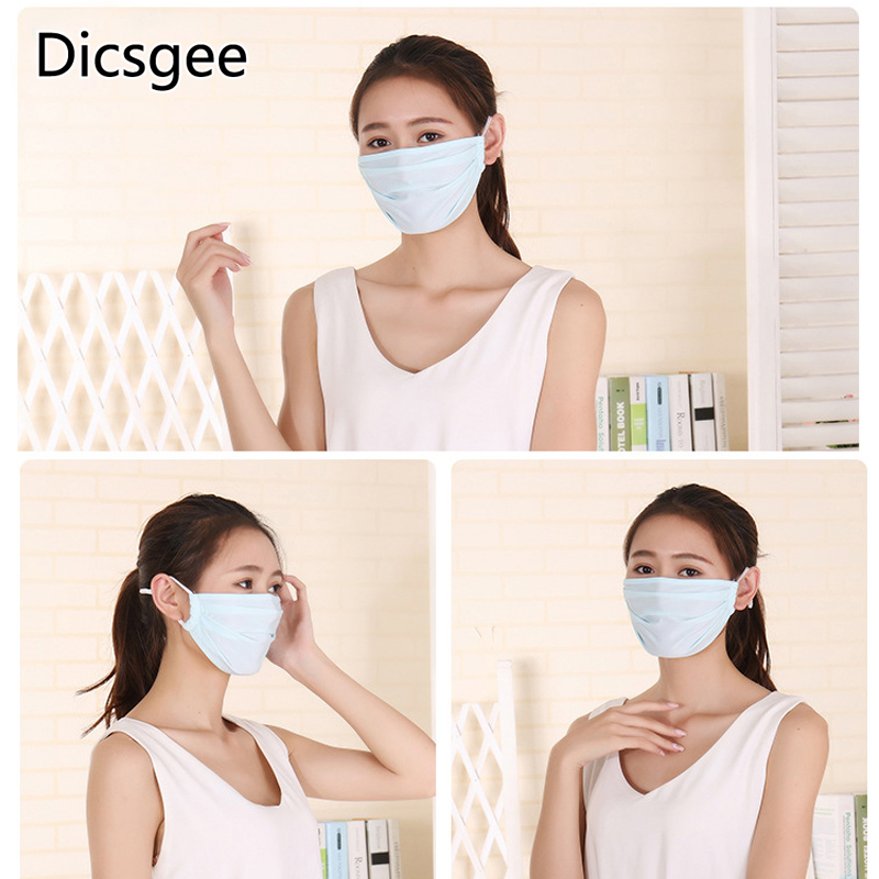 Dicsgee 4pcs/Set Ice Silk Mask Dust Anti-UV Activated Carbon Filter Windproof Mouth-muffle Bacteria Proof Flu Face Masks