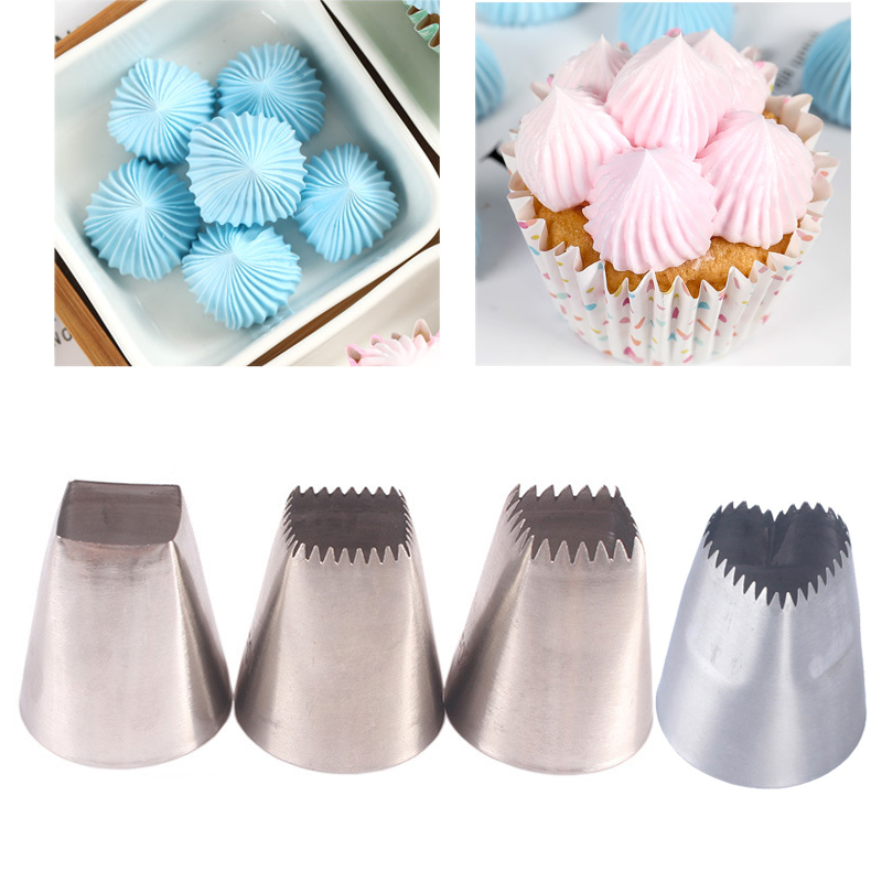 3pcs Heart Shape Big Nozzles For Cake Cream Piping Tips Square Nozzles Icing Piping Nozzles Cookie Cupcake Cake Decorating Tips