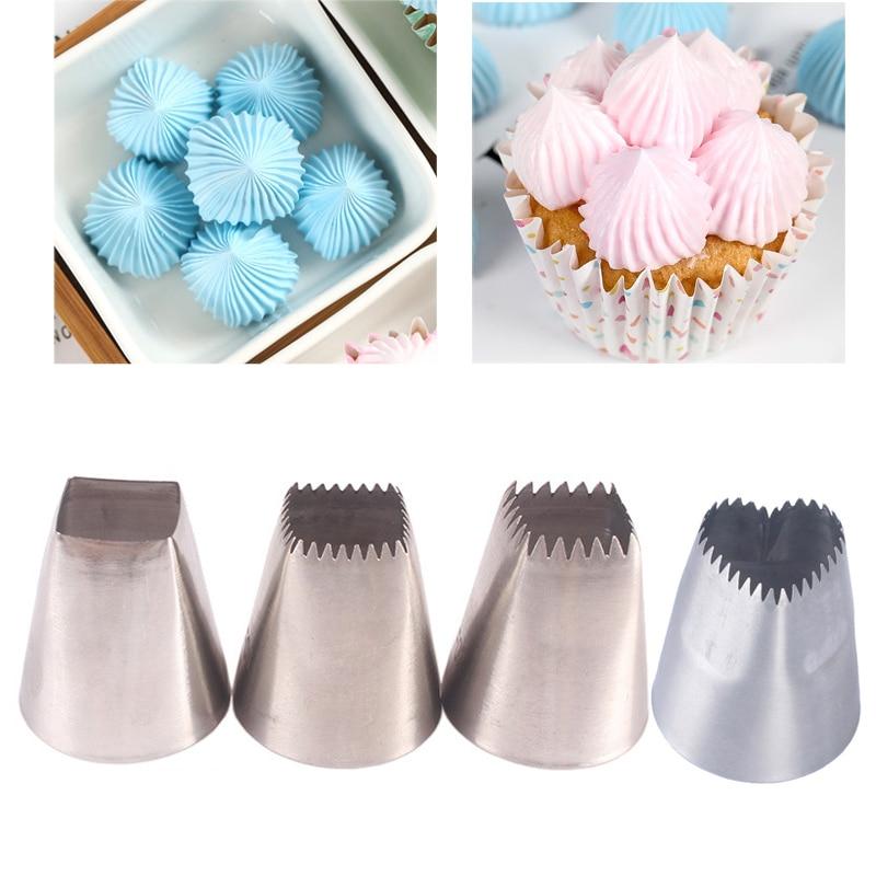 3pcs Heart Shape Big Nozzles For Cake Cream Piping Tips Square Nozzles Icing Piping Nozzles Cookie Cupcake Cake Decorating Tips