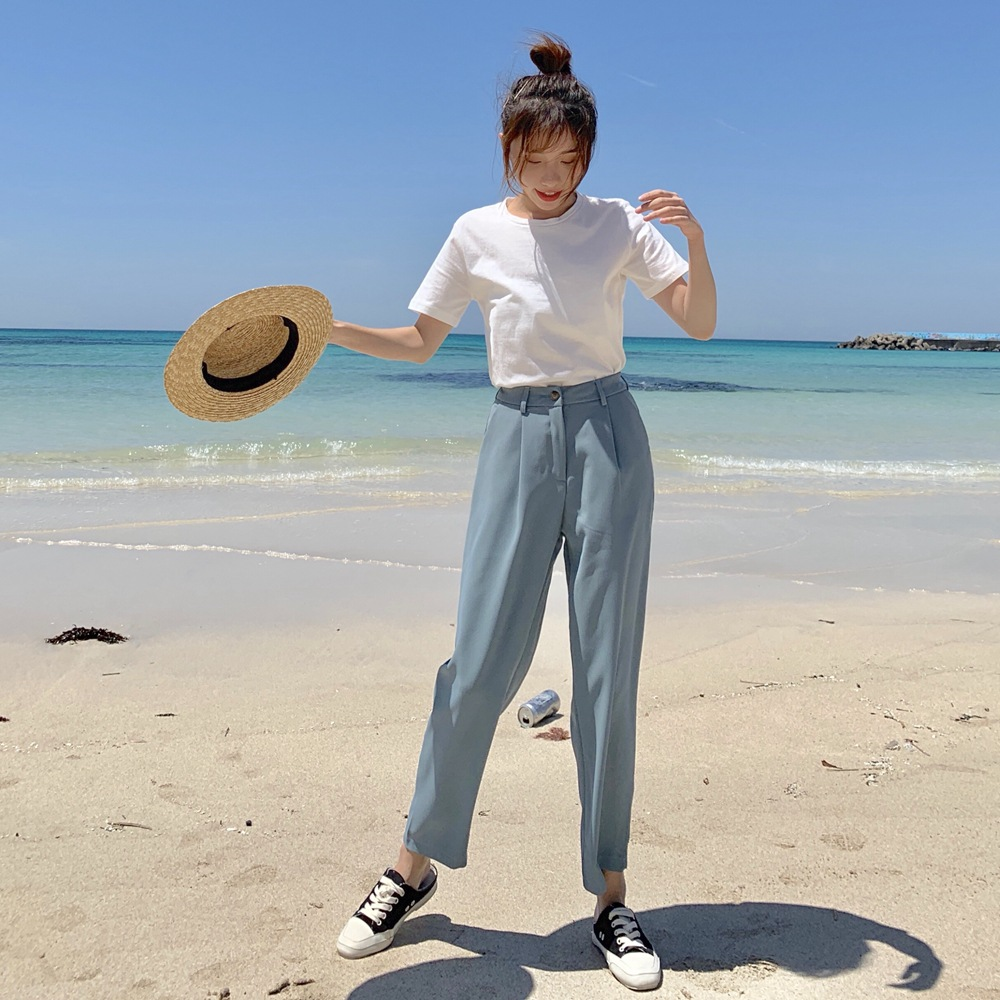 Photo Shoot 2019 Summer New Style Korean-style WOMEN'S Wear-Style Retro Simple T-shirt + High-waisted Suit Pants Two-Piece Set