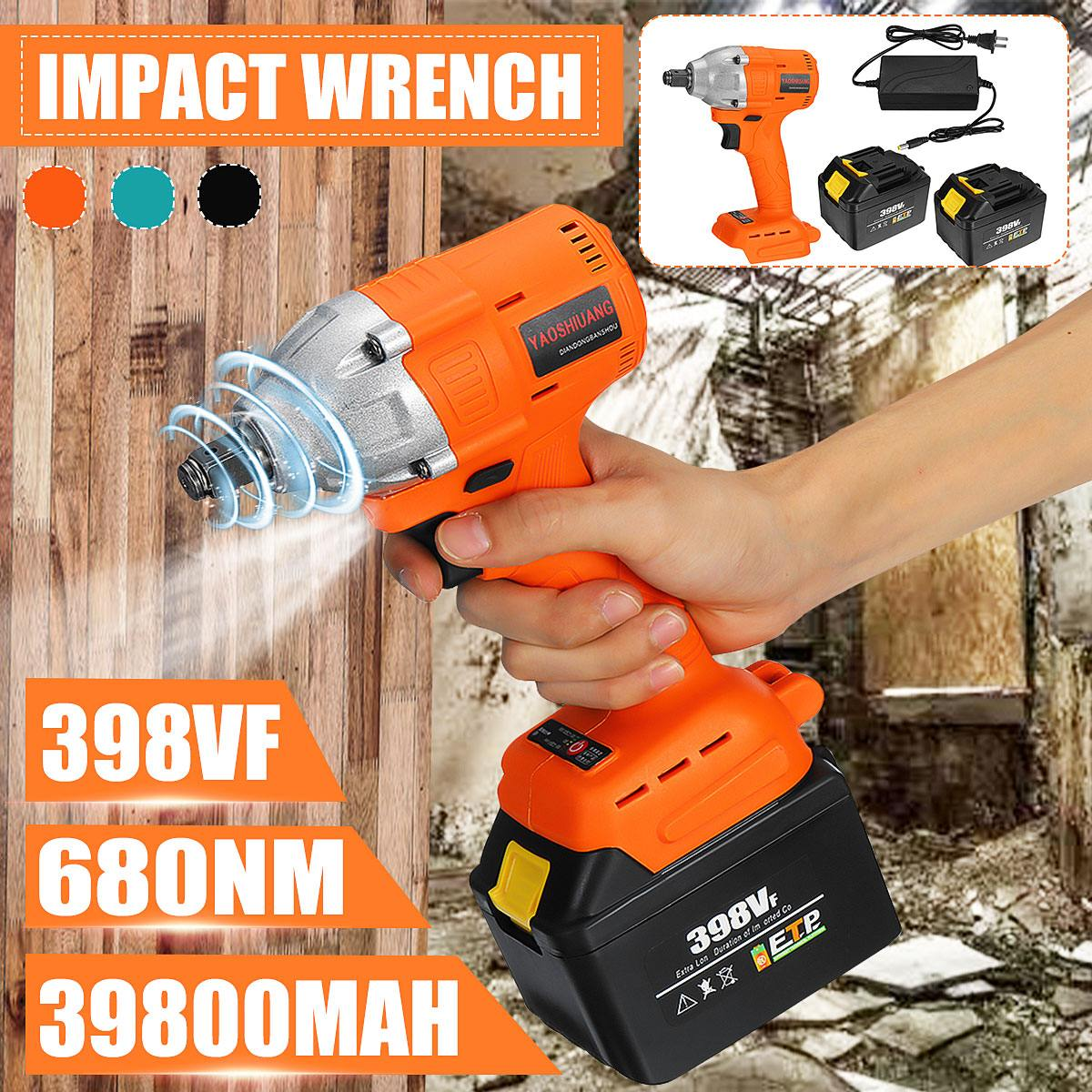 398VF 39800mah Electric Impact Brushless Wrench Electric Wrench 2 Battery Rechargeable 1/2'' Cordless Hand Power Tool 110-240V