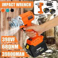 398VF 39800mah Electric Impact Brushless Wrench Electric Wrench 2 Battery Rechargeable 1/2'' Cordless Hand Power Tool 110 240V