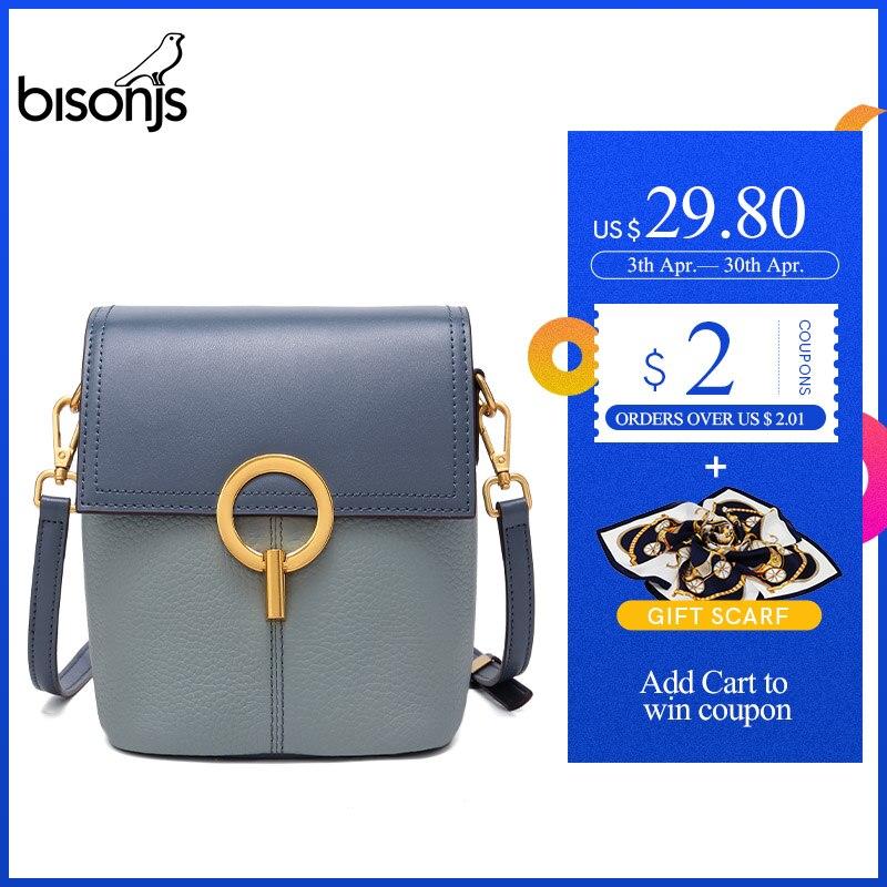 BISONJS Cow Leather Luxury Handbags Women Bags Designer New Shoulder Bag High Quality Crossbody Bag For Women B1669