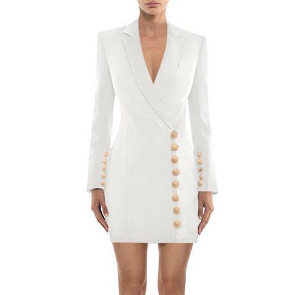 Seamyla New Fashion Women Coats Long Sleeve Slim Celebrity Party Blazers 2020 Luxury Black White Runway Coat Winter Outwears