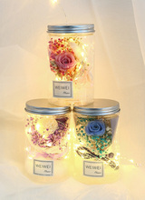 New LED Portable Romantic Night Light Rose Flower Jar Lamp Valentine Day Gift Christmas Decoration #b rose soap flower wedding decoration romantic valentine s day birthday gift decoration best for lovers