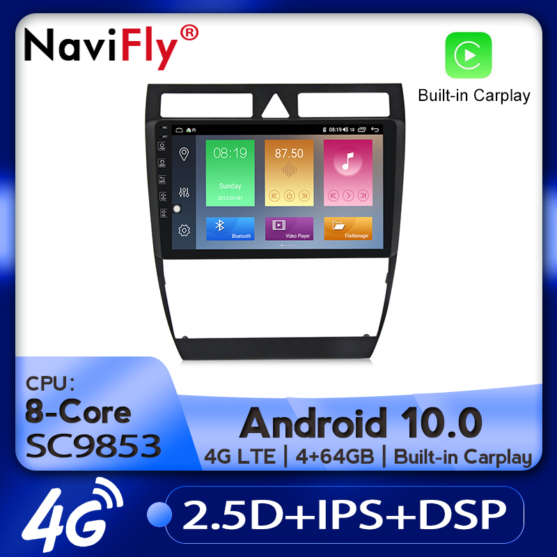 NaviFly Car Radio Multimedia Video Player GPS Navigation Android 10.0 4GB+64GB For Audi A6 C5 1997-2004 S6 2 1999-2004