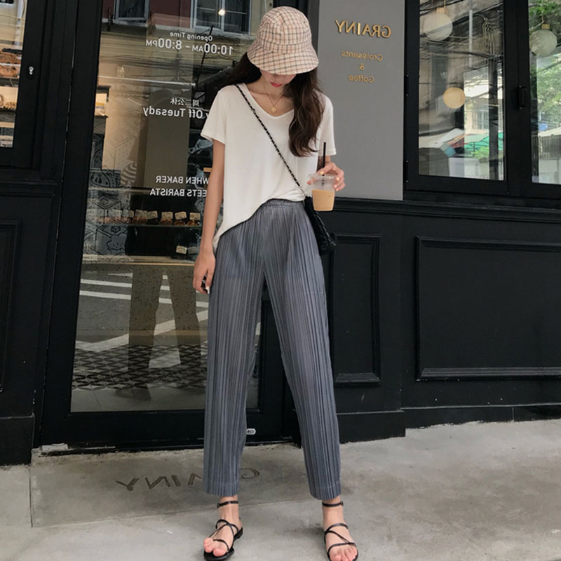 Pleated   wide     leg     pants   WOMEN'S   pants   summer thin Korean-style high-waisted loose-fit slimming drape ankle-length pleated straigh