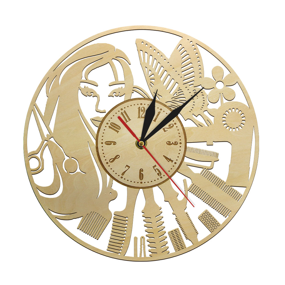 Beauty Salon Barber Shop Natural Wood Wall Clock Creative Design Fashion Girl Timepieces Quartz Movement Wooden Wall Decor Clock